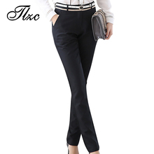 TLZC Autumn Winter Fashion Lady Pencil Pants Black Size S-3XL Top Design Elegant Office Women Work Trouser Warm Lining(China)