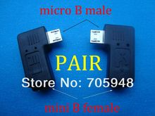 pair 90 degree right left angle micro USB B male to mini usb female plug connector adapters