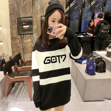 2016 new women kpop concert got7 same autumn mixed white and black colors long section hooded Korean k-pop style shirt got7