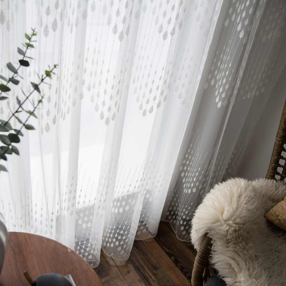 P.O.F Embroidered Curtain For Living Room Modern Tulle Window Drapes White Sheer For Bedroom Raindrop Design