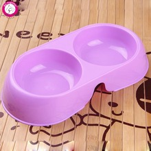 Colorful Dog Puppy Bowl Water Drinking Dispenser Pet Cat Feeder Plastic Food Dish Double Bowls
