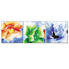 3PCS Colorful large flowers green orange Wall Vintage Oil Painting Prints on Canvas Landscape Pictures Home Decor Cuadros