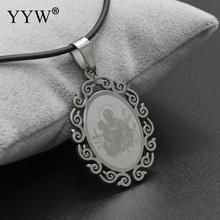 YYW Rubber Necklace With Stainless Steel Pendant Women Christian God Pendant Necklace Women Men Gold Pendant Statement Jewelry