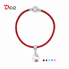 2017 Fashion Hello Kitty Charm Bracelets for Women Girls Red String Bracelet Handmade Leather Braided Rope Bracelet Jewelry
