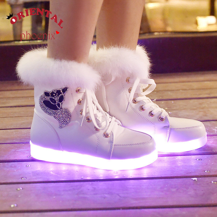 High quality 7 Colors Luminous Shoes Women High Top Rabbit Fur Quilted Boots USB Rechargeable Led Shoes Black Winter Snow Shoes<br><br>Aliexpress