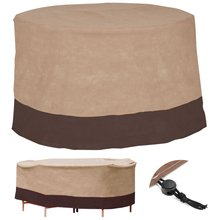 Brown Table Cover Waterproof Table Runner Outdoor Patio Round Table Cover Home Textiles Furniture Protection Cover 48 Inch