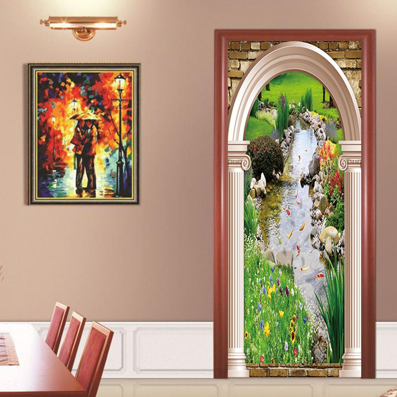 2 Pcs /set stream side cottage diamond painting Door Sticker Wallpaper Sticker Mural Bedroom Living Room Home Decor Poster <br>