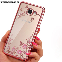 Tobocloo Case For Samsung Galaxy A3 A5 A7 2016 2017 J3 J5 J7 J2 Grand Prime Note 8 S6 S7 edge S8 PLUS Flower Diamonds Soft Cover(China)