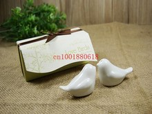 Fedex DHL shipping Free 100pcs Wholesale Love bird salt and pepper Shaker wedding favors gifts White color 2pcs/set(China)