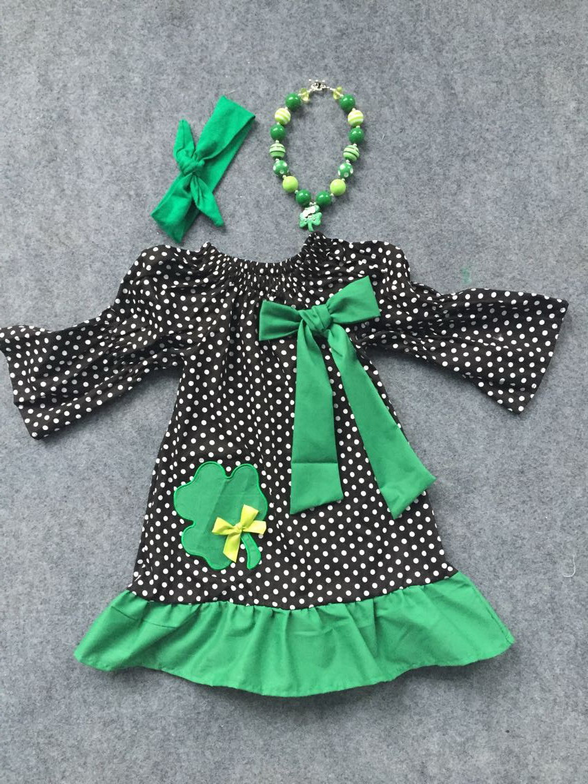 2016 new arrival baby girls shamrock dress st patrick girls dress baby party dress with matching chunky necklace and bow set<br><br>Aliexpress