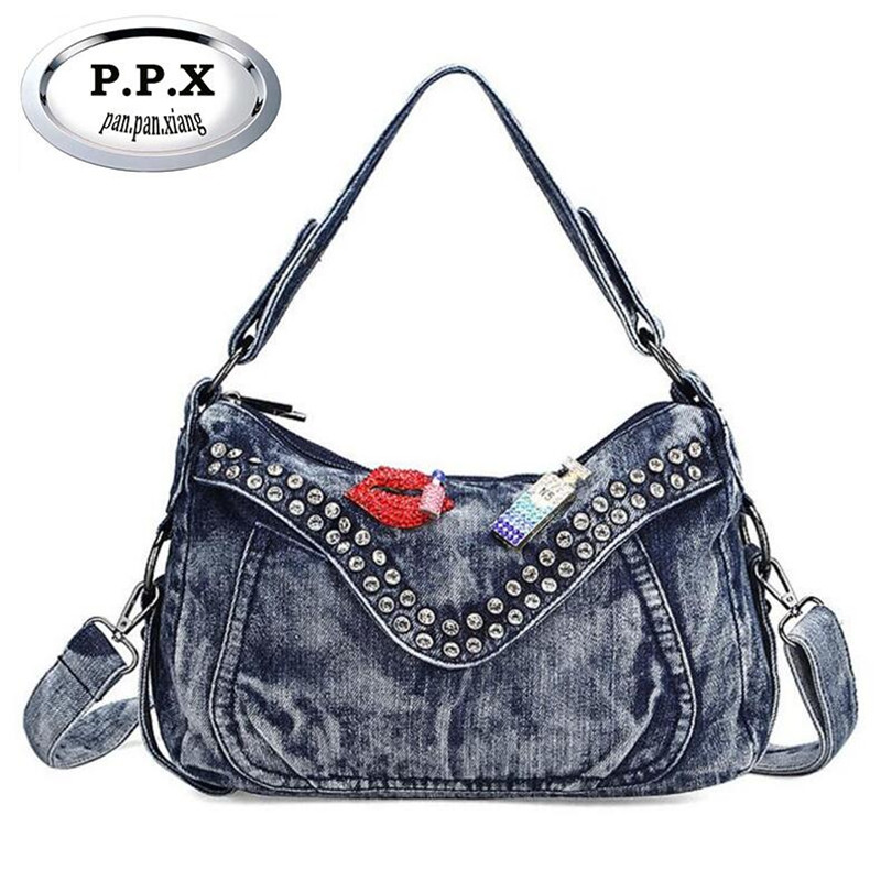European And American Style Messenger Bags Wear-resisting Washed Denim Taschen Women Multi-function Solid Color Handbags H101<br>