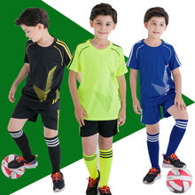 custom soccer jersey kids football jersey 2017 2018 for children clothing set short sleeve boy clothes set summer tracksuit.