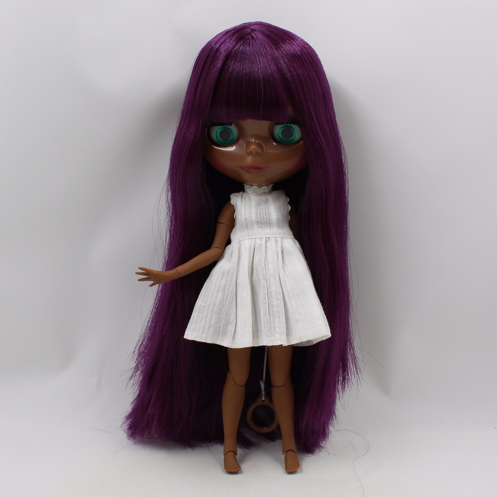 Neo Blythe Doll with Purple Hair, Black skin, Shiny Face & Jointed Body 1