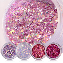 15g/Box 8 Colors Shiny Nail Art Glitters Sequins Red Pink Purple Nail Tip Dust Powder Manicure Nail Art Decorations