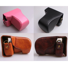 Smilyou HY-98 PU Camera Bag Protective Case with PU Camera Shoulder Strap for Canon EOSM10 Black Coffee Brown Pink