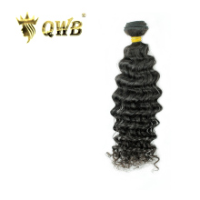 Queen Weave Beauty QWB Deep Wave Free shipping 12''~28'' Brazilian Virgin Hair Nature Color 100% Human Hair Weaving(China)