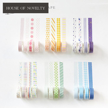Simple Colorful Vertical Bar Decorate Washi Tape Adhesive Tape DIY Scrapbooking Sticker Label Masking Tape(China)