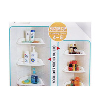 Hot New Kitchen Bathroom Corner Storage Rack Organizer Shower Wall Shelf with Suction Cup(China)