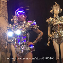 New Arrival LED Women Armor Light Up Car Model Sexy Silver Dress Led Outfit Clothes Led Robot Suit For Party Stage Show(China)