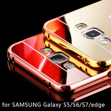 Luxury Mirror Case for SAMSUNG Galaxy S6 S7 Edge Plus S5 Metal PC Rose Gold Sliver Aluminum Electroplate Back Phone Cover Coque