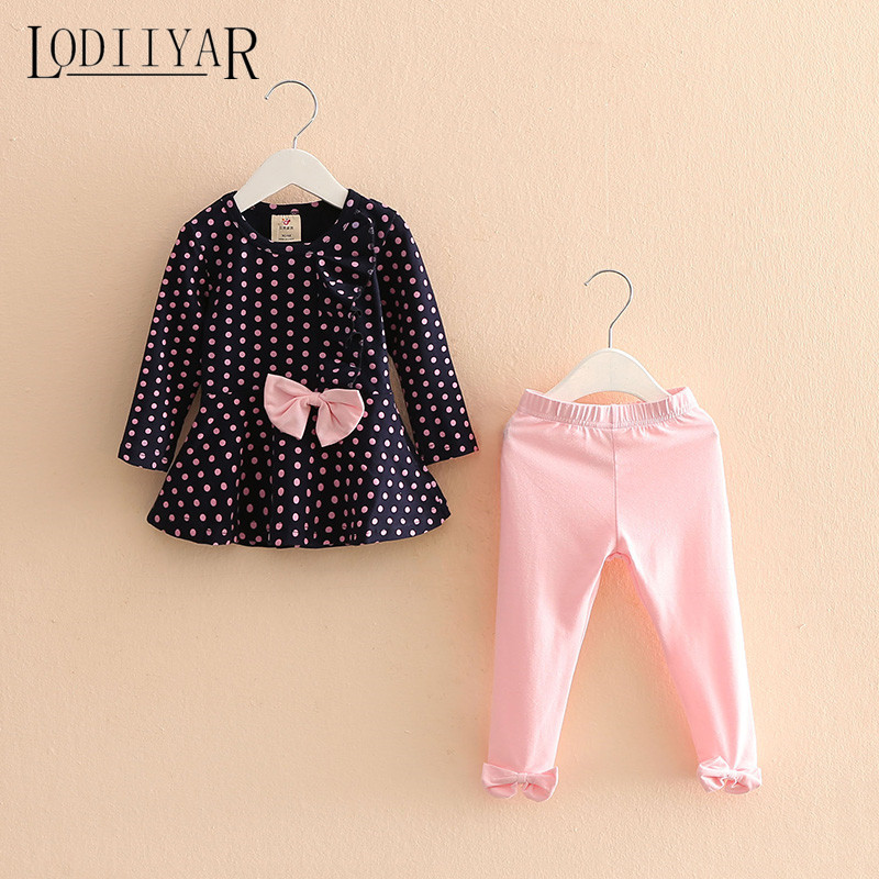 Baby Girls Clothing Set 2017 New Children Suit  Bow Polka Dot Long Sleeve Pullover + Pants Toddler Girls Clothes Autumn Winter <br><br>Aliexpress