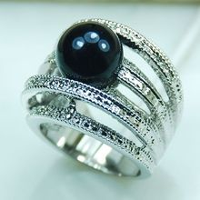 Wholesale & Retail Brand New Huge Black Pearl 925 Sterling Silver Ring Free Shipping R266 USA Size 6 7 8 9 10(China)
