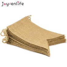 JOY-ENLIFE 15pcs/set Natural Jute Dovetail Flags Garland Banner Rustic Wedding Party Decor Birthday Party Baby Shower Supplies