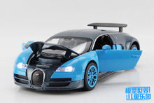 1 PC 14cm Alloy model car toys navigation 1:32 bugatti veyron sports car audio and video version back gifts