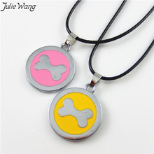 Buy Julie Wang 2PCS Pink Yellow Enamel Silver Color Bone Pattern Round Alloy Pendant Leather Chain Necklace Trendy Women Men Jewelry for $1.12 in AliExpress store