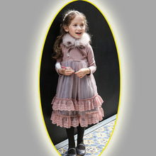 2017 New Brand Girls Winter Dress Lace Sash Dresses with Vintage Boutique Girls Cotten Clothes Baby Girls Party Dresses CE390