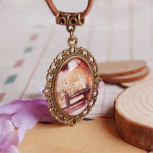 Antique Sewing Machine Necklace Oval Glass Cabochon Necklace Handmade Vintage Costume Jewellery XL001