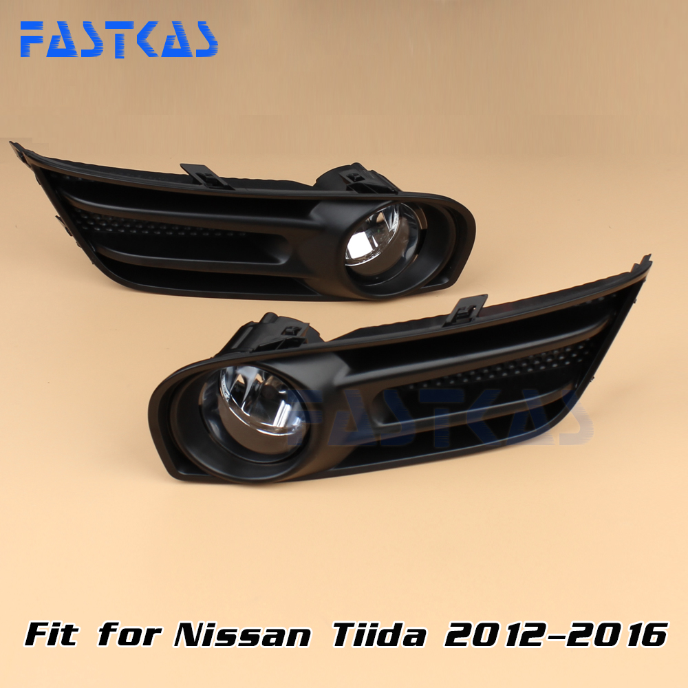 Car Fog Light for Nissan Tiida 2012 2013 2014 2015 2016 Left Right Bumper Fog Lamp with Switch Harness Cover Fog Lamp Kit<br>
