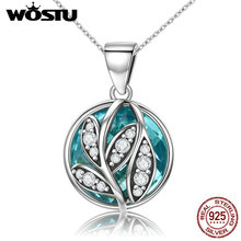 WOSTU Brand NEW Authentic 925 Sterling Silver Green Radiant Leaves Pendant Necklaces for Women Fine Jewelry Gift CQN109(China)