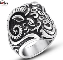 Hot Sale!! New Fashion Huge Gothic Ram Goat Carving Skull Silver Men's 316L Stainless Steel Punk Biker Finger Ring
