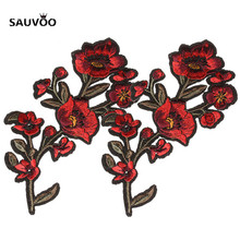 4pcs Embroidered Fabric Rose Flower Leaf Vine Patches For Clothing Iron On fit Women Hairband Choker Jewelry Pendant DIY Making
