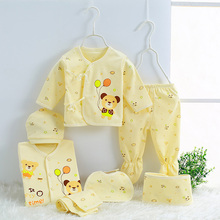 Hot sale 7 sets of newborn clothing brand baby clothes 0-3M infant tops Pants Hat, belt, scarfsuit 7pcs cotton underwear