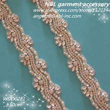 (10 YARDS) Wholesale hand beaded sewing bridal rhinestone pearl applique trim iron on for wedding dress WDD0281(China)
