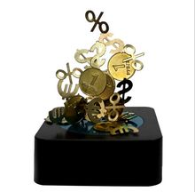 9Pig/Magnet Magnetic Sculpture Gold Coin Money EUR USD Symbols Endless Combination Stacking Toy/Novelty Office Decompression Toy