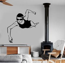 Swimming Girls Wall Decal Sports Gym Vinyl Fitness Olympic Routine Sport Swimming Pool Design Wall Sticker Home Self DecorSYY384