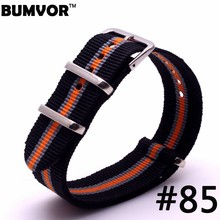2017 new watch strap 20mm Nato Black Silver Orange Stripe Military Army Sport Watch Strap Band Nylon Watchband(China)