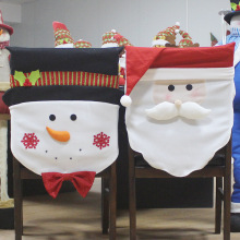 Christmas Chair Cover Santa Claus Snowman Two Styles Hotel Home Holiday Decoration Dress