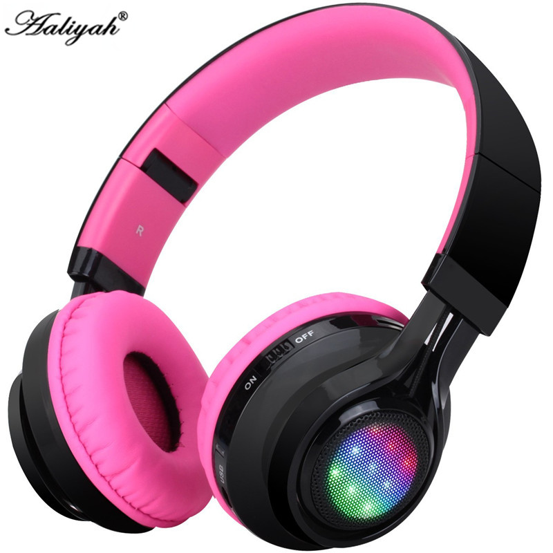 Aaliyah Wireless Headphones Bluetooth Headsets RGB LED Light TF Card FM Radio Pink Headset Foldable Earphone For Xiaomi Iphone 7<br><br>Aliexpress