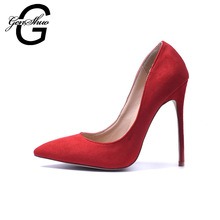 GENSHUO Shoes Women High Heels Shoes 2018 Ladies High Heel Shoes for Women Pumps Women Stiletto Prom Red Faux Suede 12cm Heels(China)