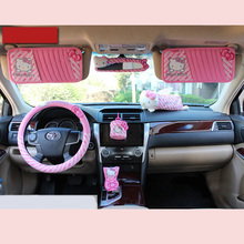 Car-Styling Hello Kitty Car Seat Accessories Interior Decoration Car Gears Cover Handbrake Car Tissue Box Holder CD Cover