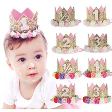 Mini Birthday Crown Headband, Gold Glitter Birthday Crown with flowers For Hair Accessories