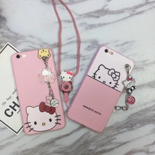 Japan Super Cute Matel Hello Kitty Bowknot Glasses Pendant Chaining TPU Case Cover With Lanyard For Iphone6 6S 7 6Plus 7Plus