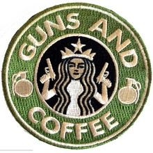 Round Tactical Guns and Coffee Iron On/Sew on/Vecro on Custom Embroidery Patches and Morale Military Patch 3.5 inches