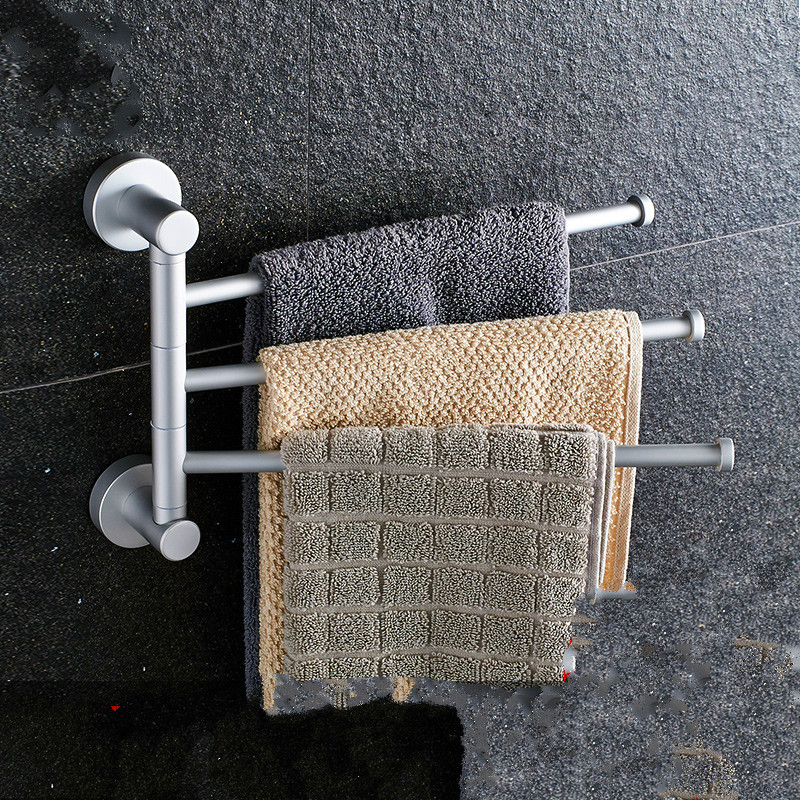 Modern Silver Space Aluminum Towel Holder Towel Bar Three Layers Movable Brushed Towel Rack Bathroom Accessories Products Fw2<br><br>Aliexpress