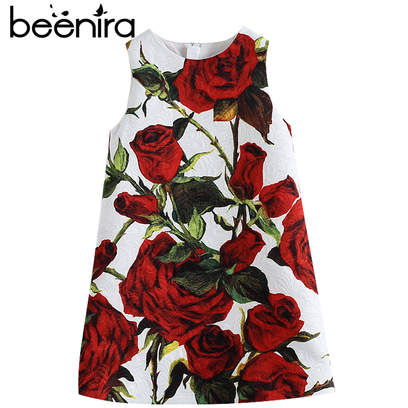 Beenira Girls Clothes Sleeveless Dress 2017 High Quality Dresses Rose Flower Printed Princess Dress for Children 14Years Dresses<br>