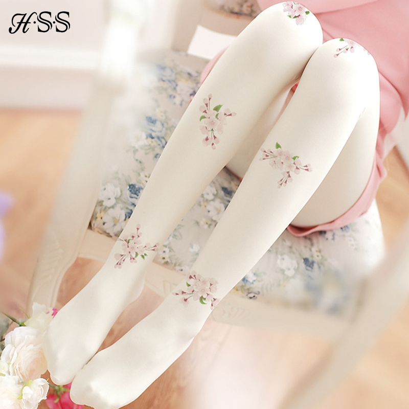 HSS High quality women Cotton tights hook wire pantyhose Literary retro print tights Fashion flower girl lady